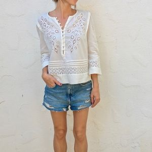 (Rebecca Taylor) Adeline Embroidered Eyelet Top